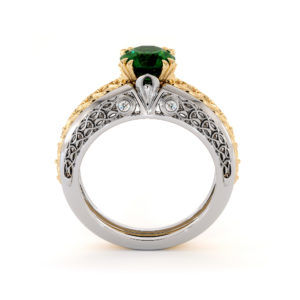 Unique Princely 2 Tone Gold Emerald Engagement Ring