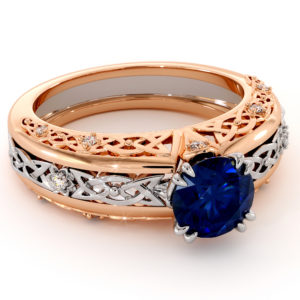 Majestic Blue Sapphire Diamonds 2 Tone Gold Art Nouveau Engagement Ring