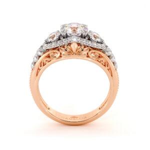 Regal Luxury 3 Stone Moissanite Diamonds Gold Engagement Ring