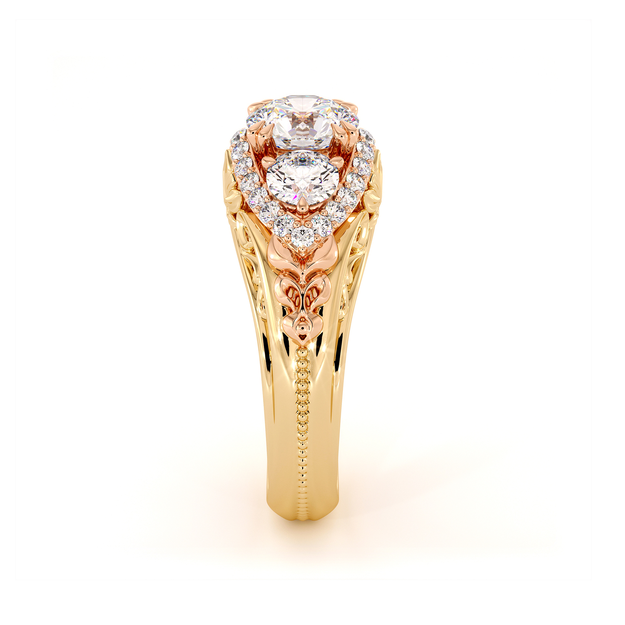 3 Stone Moissanite Diamonds 2 Tone Gold Regal Luxury Engagement Ring