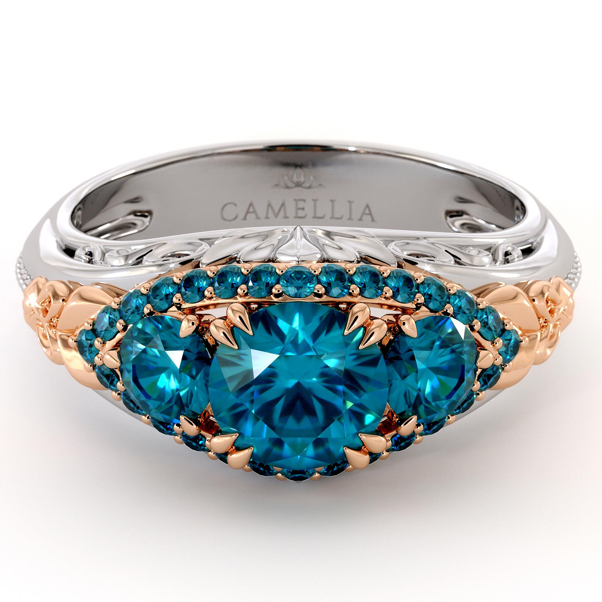 3 Stone Blue Diamond Regal Luxury Gold Engagement Ring