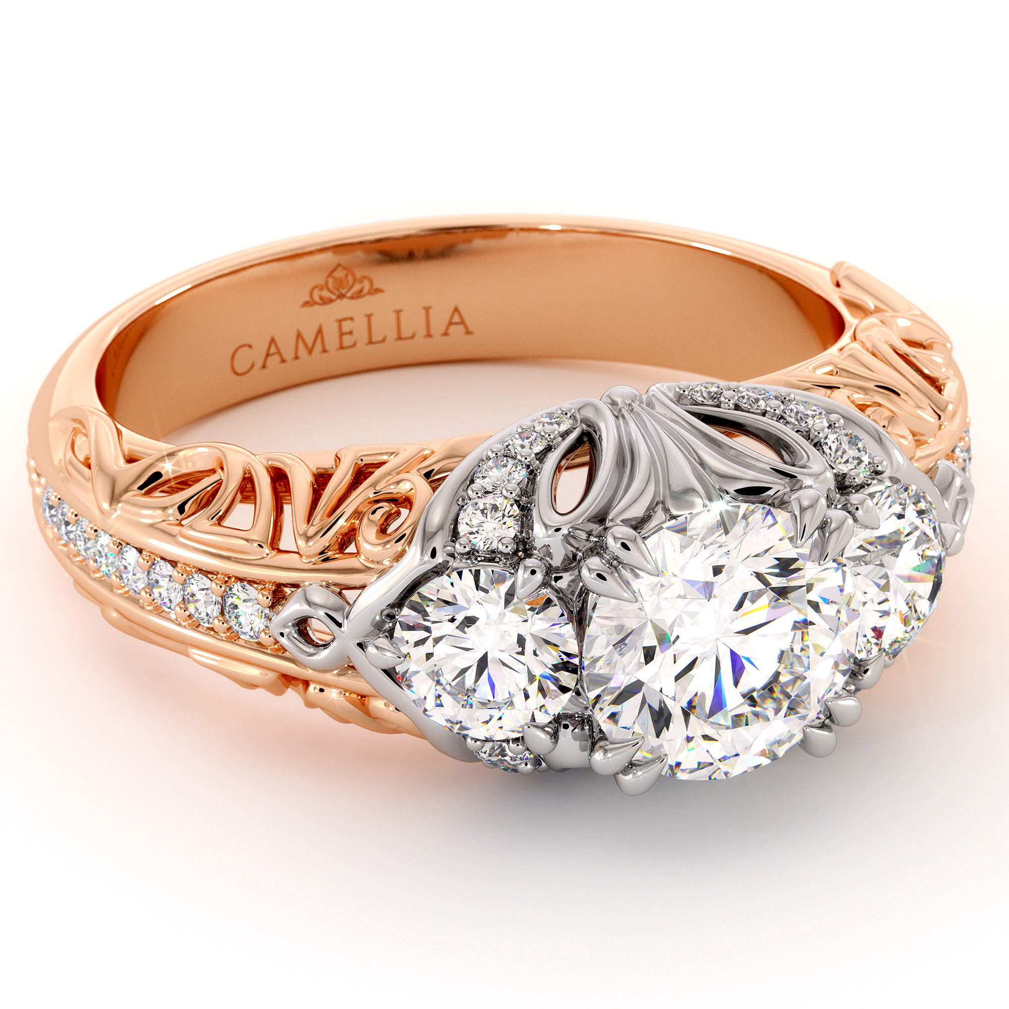 Queenly Three Stone Engagement Ring