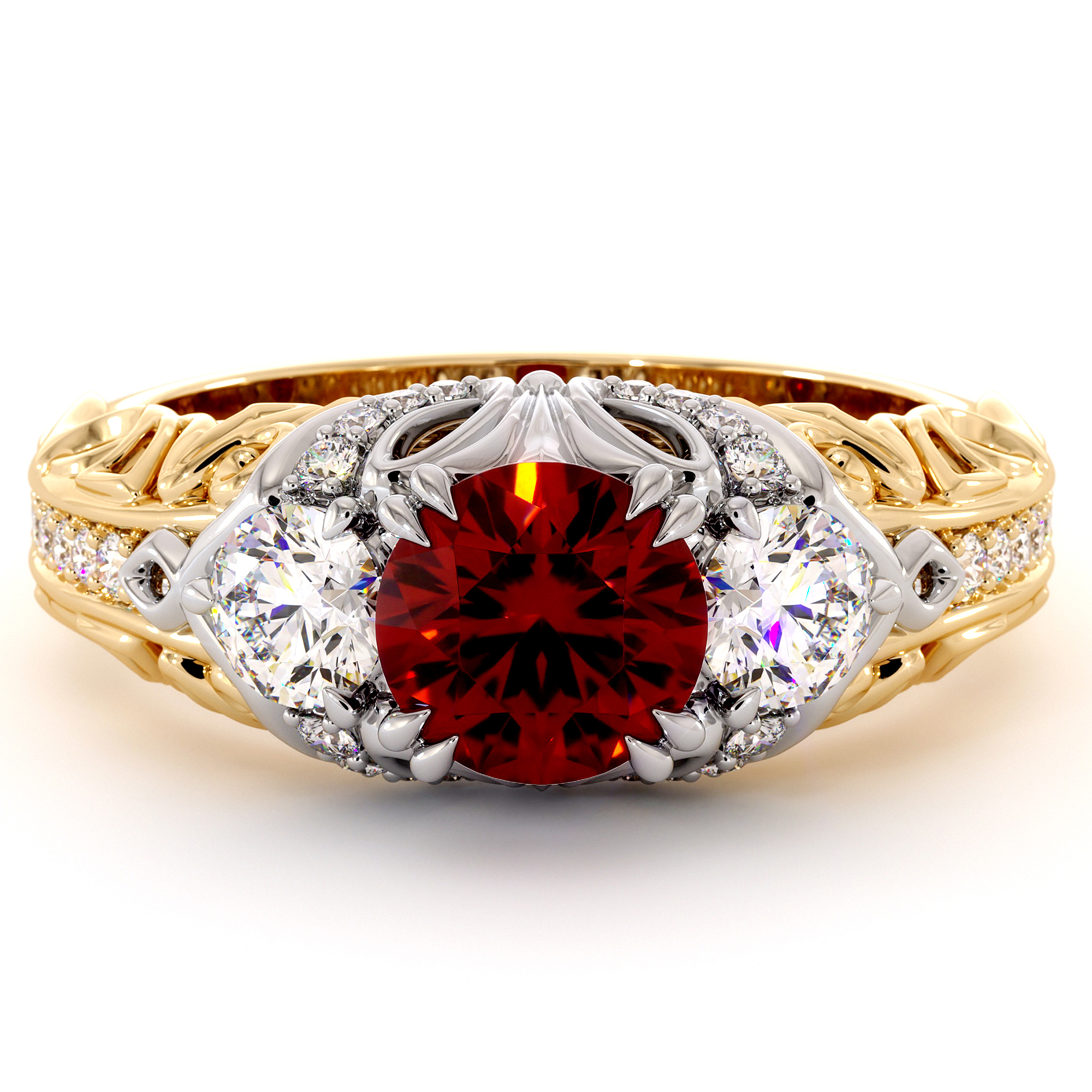 Queenly Ruby Three Stone Engagement Ring