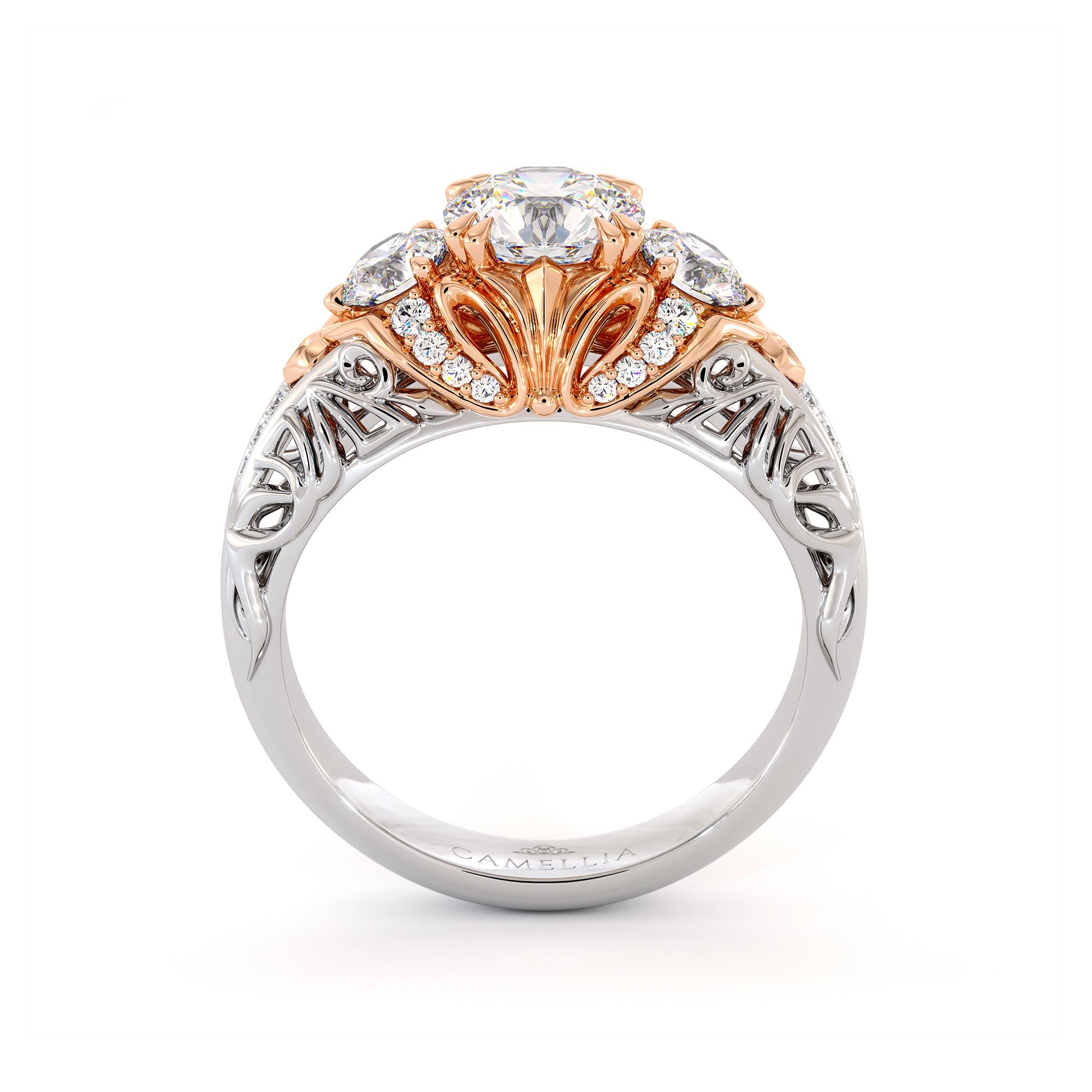 Unique Three Stone Queenly Engagement Ring