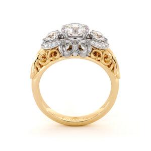 Edwardian Regal Three Stone Engagement Ring