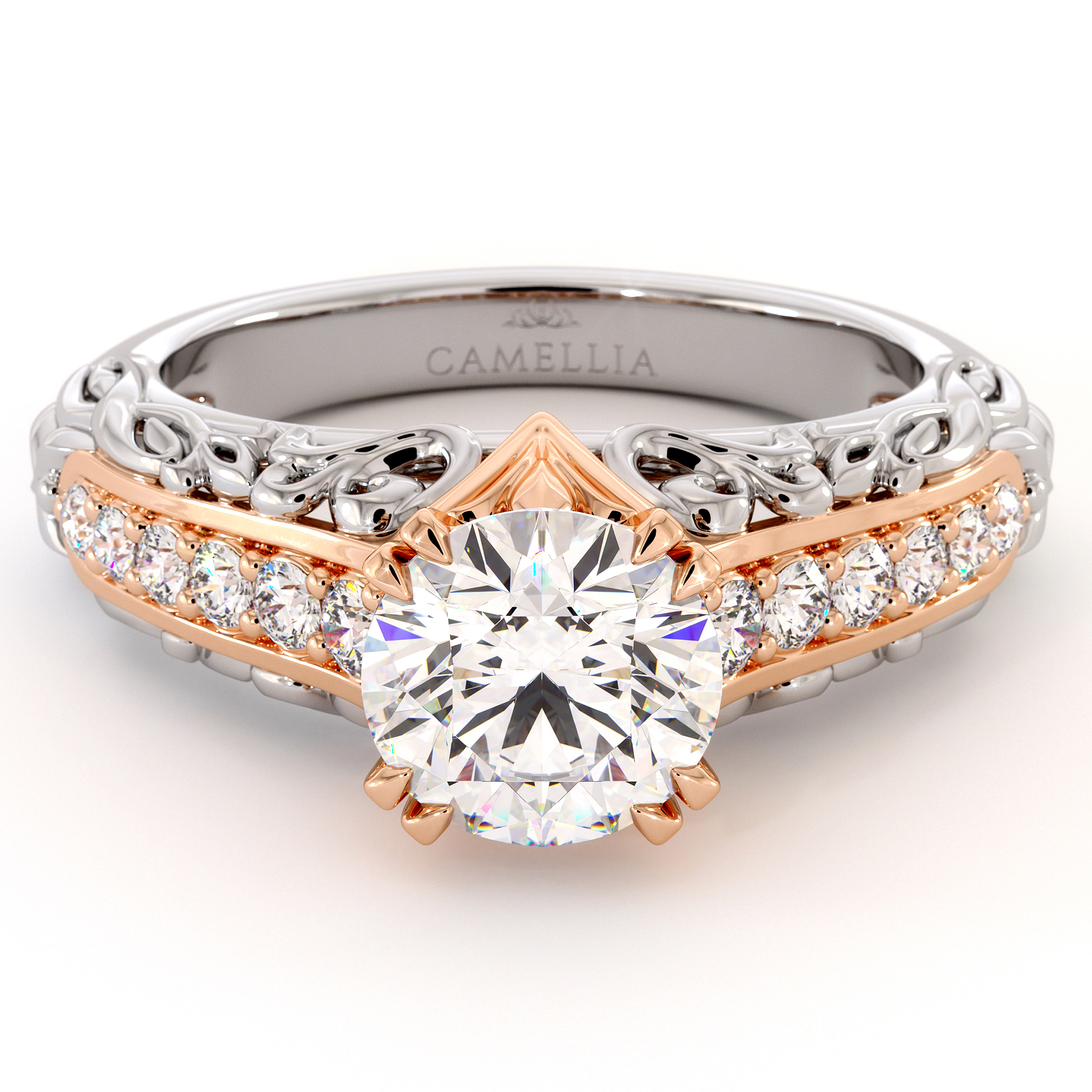 Glorious Two Tone Gold Moissanite engagement Ring
