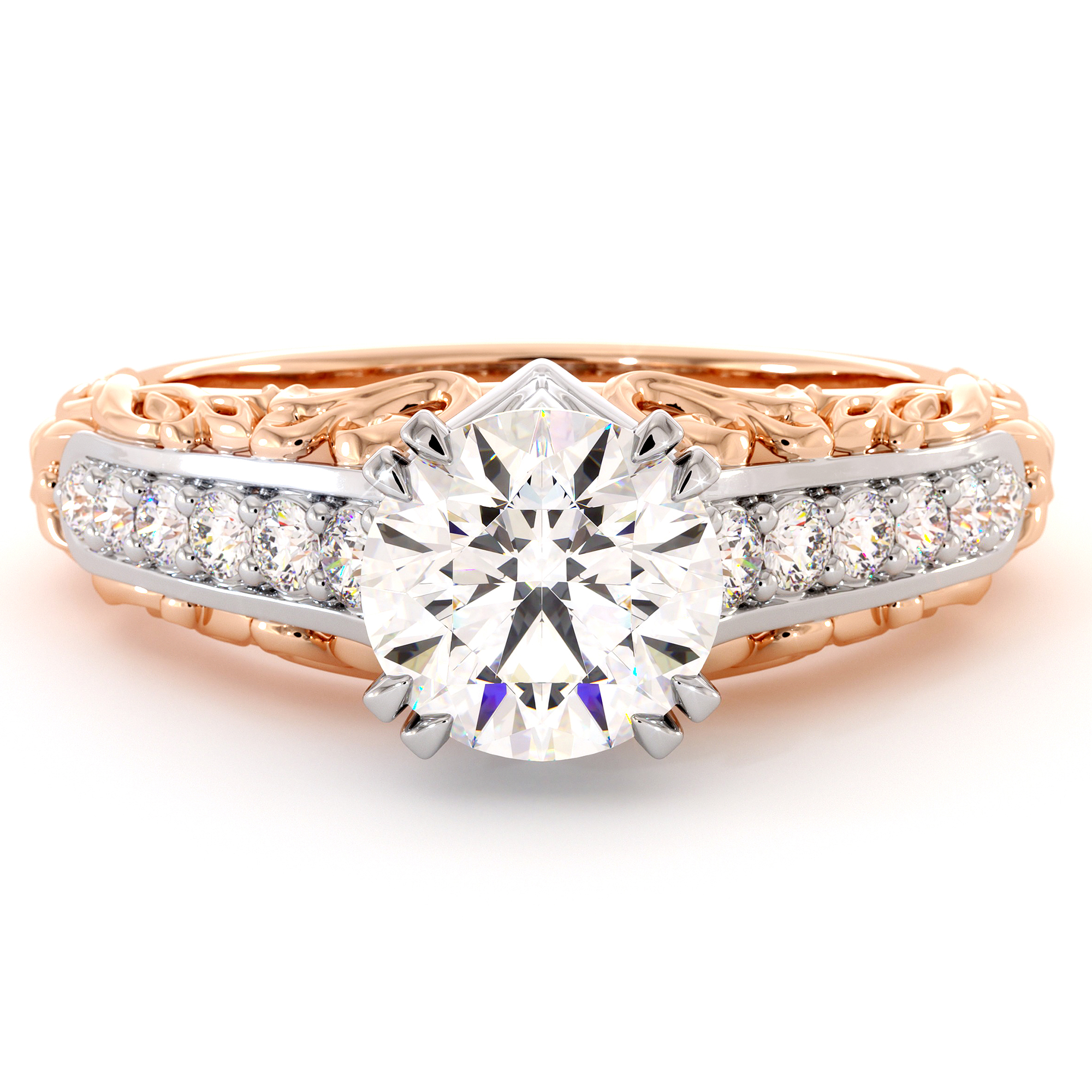 Moissanite Two Tone Gold Glorious Engagement Ring