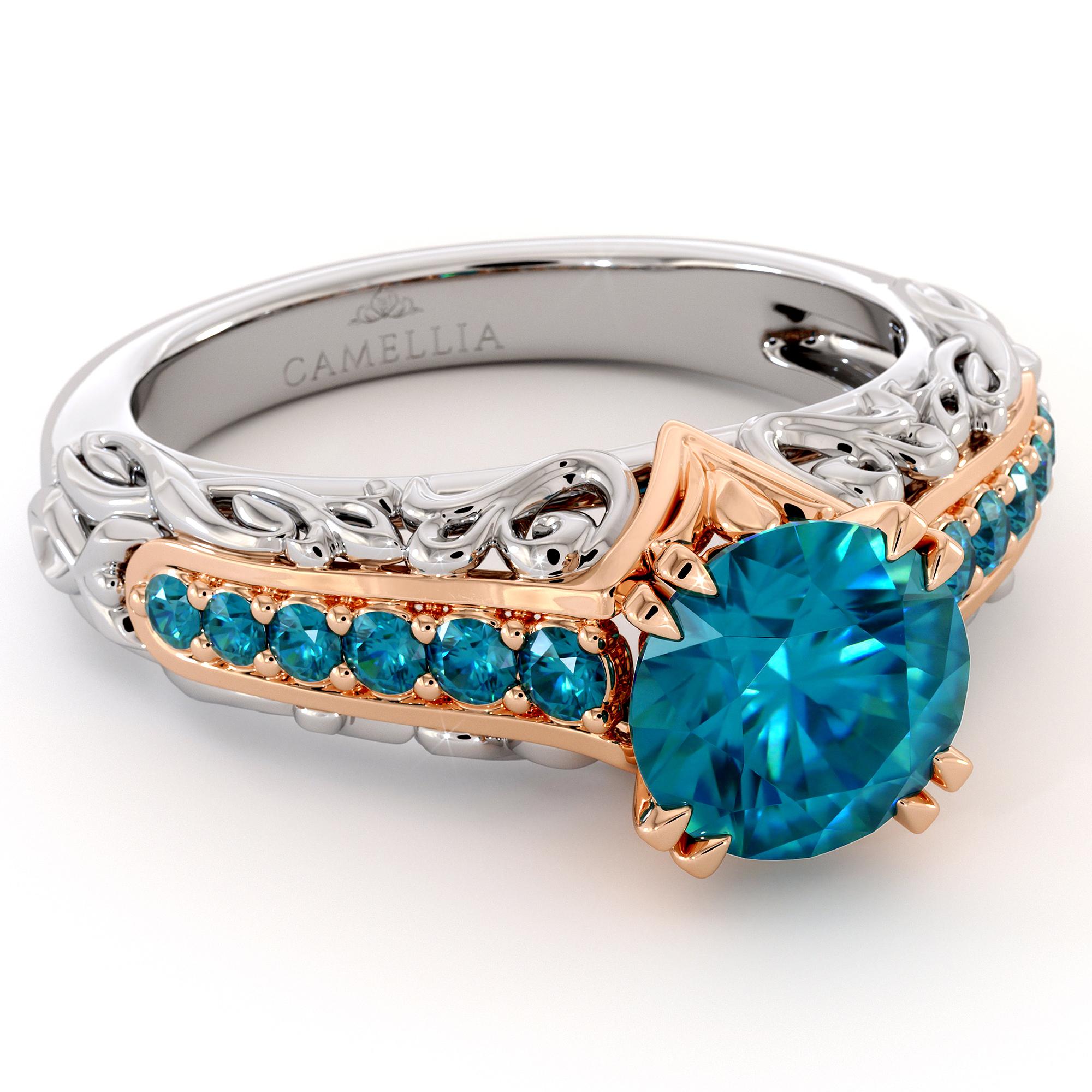 Glorious Blue Diamond 14K Gold Engagement Ring