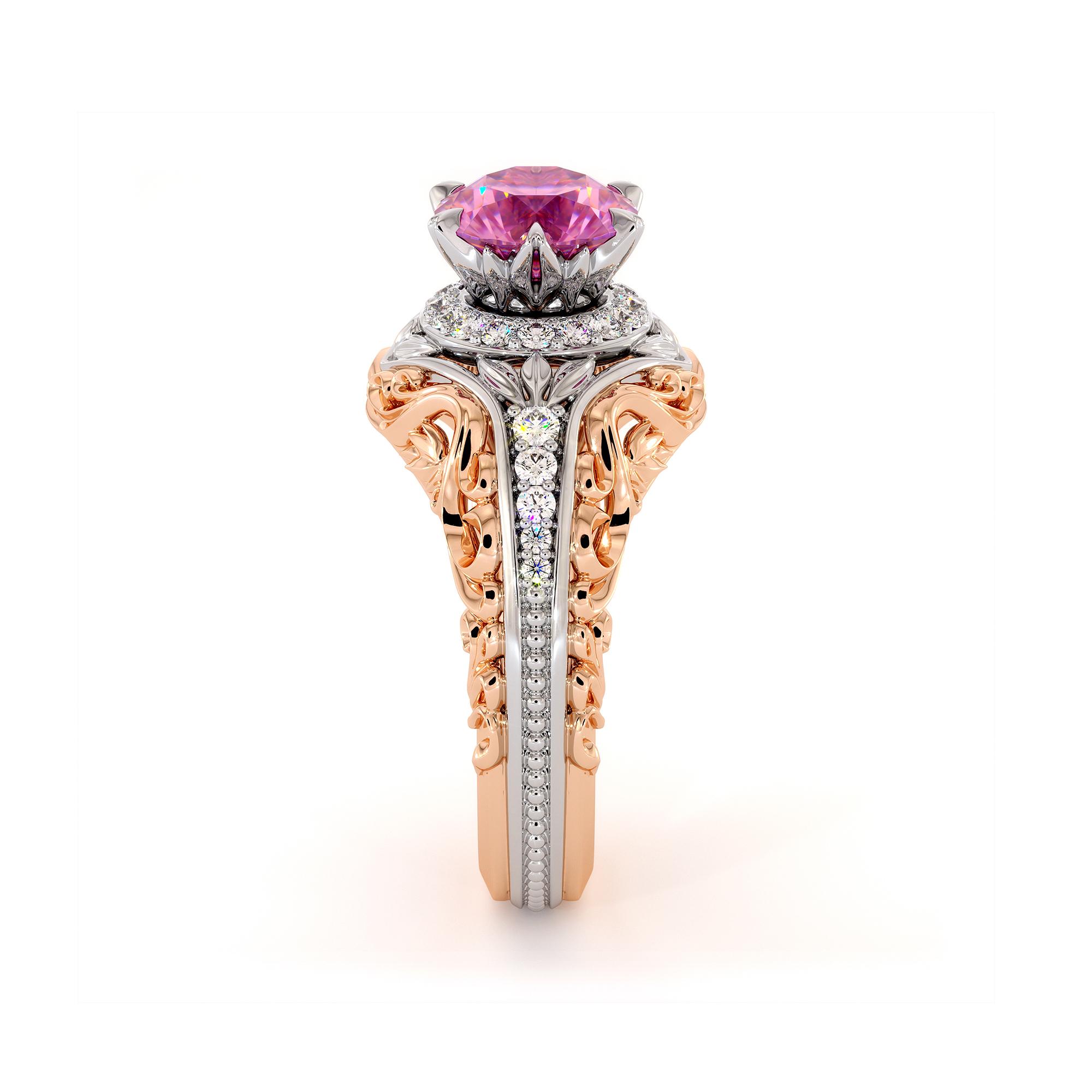 Noble Pink Sapphire Unique Engagement Ring