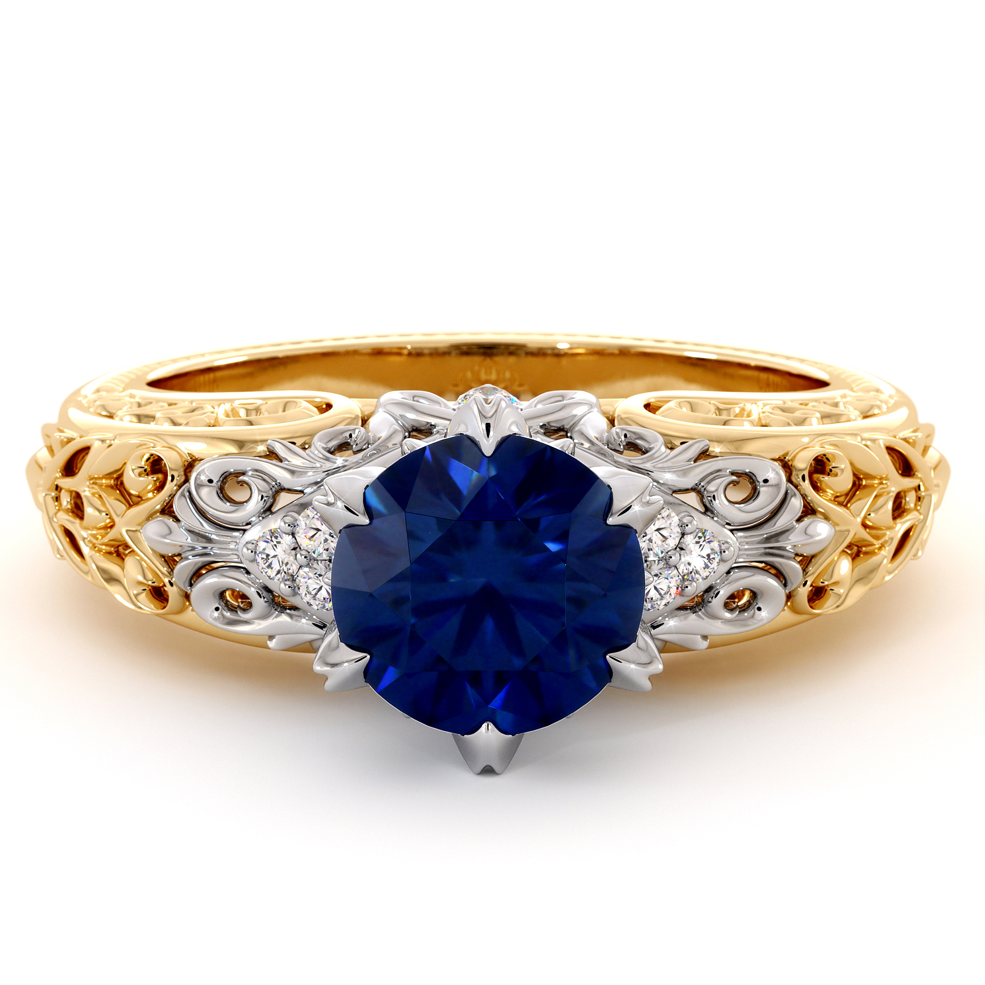 Eternal Vintage Blue Sapphire Engagement Ring