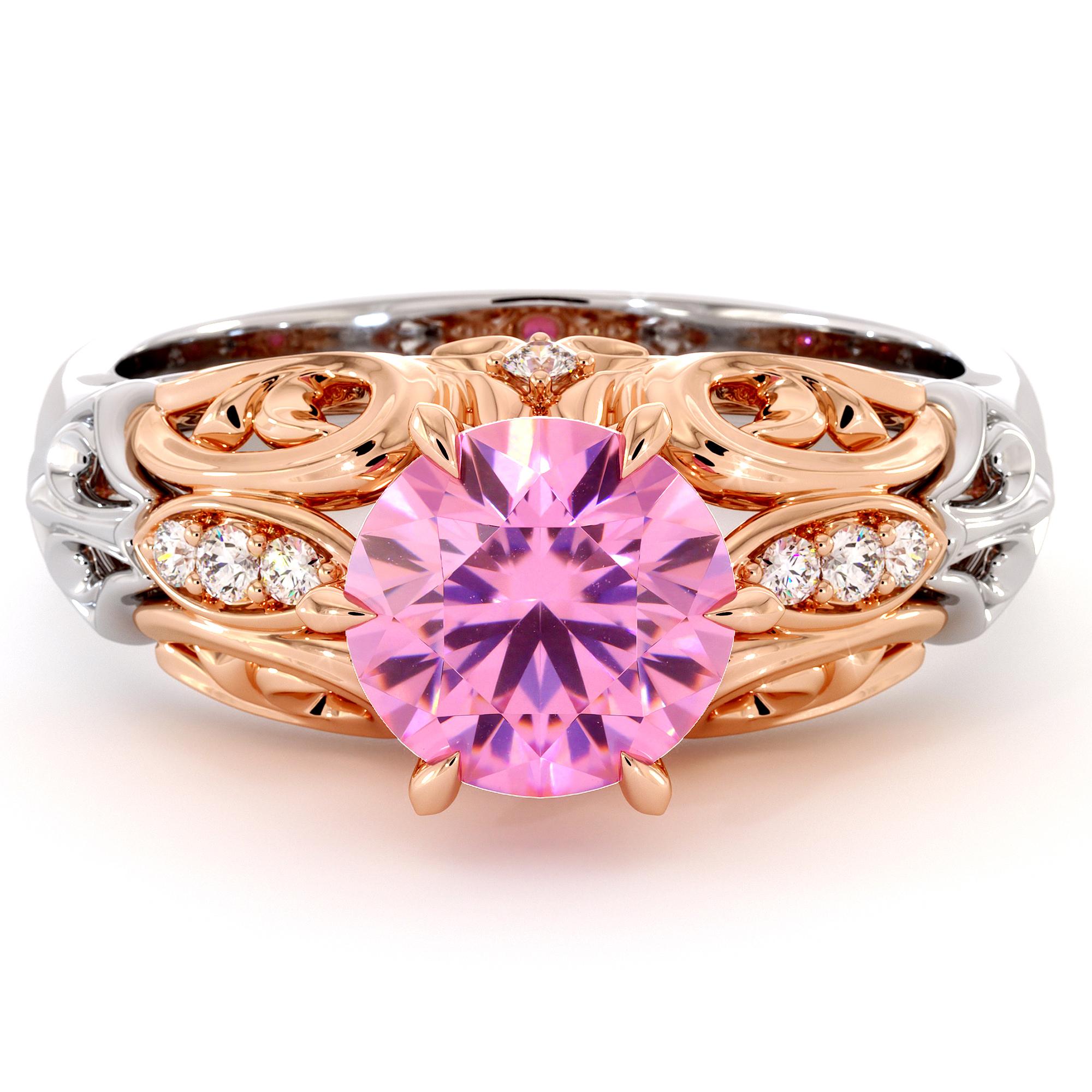Royal Filigree 2 Ct Pink Sapphire engagement ring