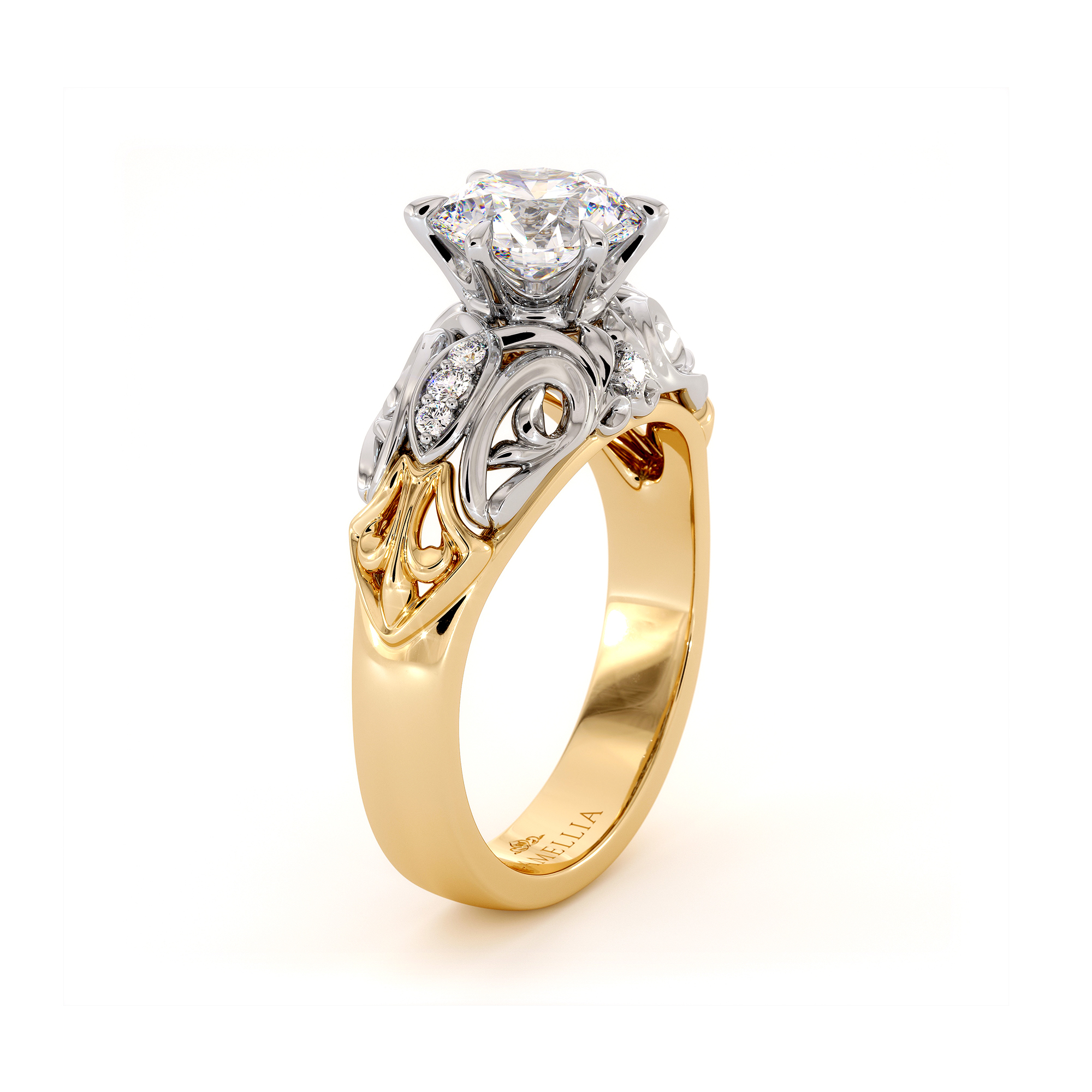 Royal Filigree 1.55 Ct FO Moissanite Engagement Ring