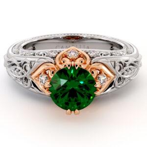 Regal Vintage Emerald Engagement Ring