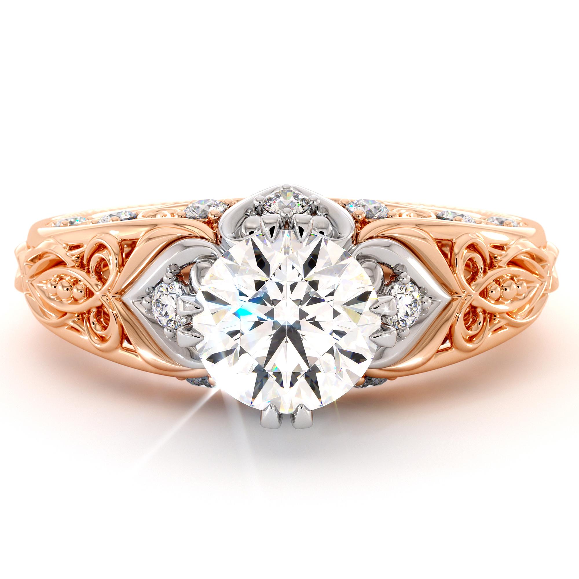Unique Two Tone Gold Regal Engagement Ring