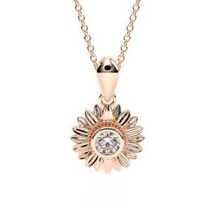 Mesmerizing Sunflower Moissanite Pendant Rose Gold Nature Jewelry 14K Solid Gold Necklace Pendant Anniversary Gift