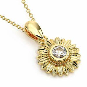 14K Solid Gold Forever One Moissanite Sunflower Pendant Necklace Mesmerizing Gift For Her