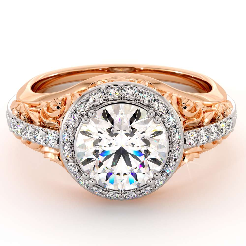 Regal Halo Engagement Ring Unique Halo Moissanite Ring Fancy Ring