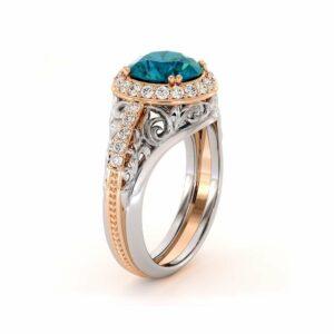 Blue Diamond Regal Engagement Ring Fancy Halo Wedding Ring