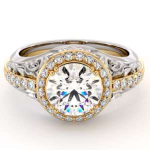 Regal Halo Engagement Ring Unique Two Tone Engagement Ring Fancy Wedding Ring