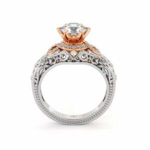 Halo Glory Engagement Ring 14K White & Rose Gold Ring Regal Filigree Gold Ring