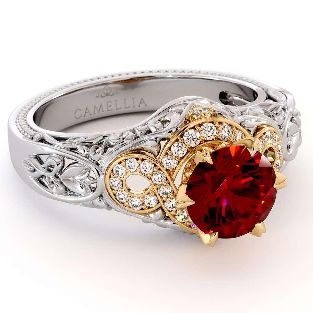 Halo Glory Ruby Engagement Ring 14K White & Yellow Gold Ring Regal Filigree Gold Ring