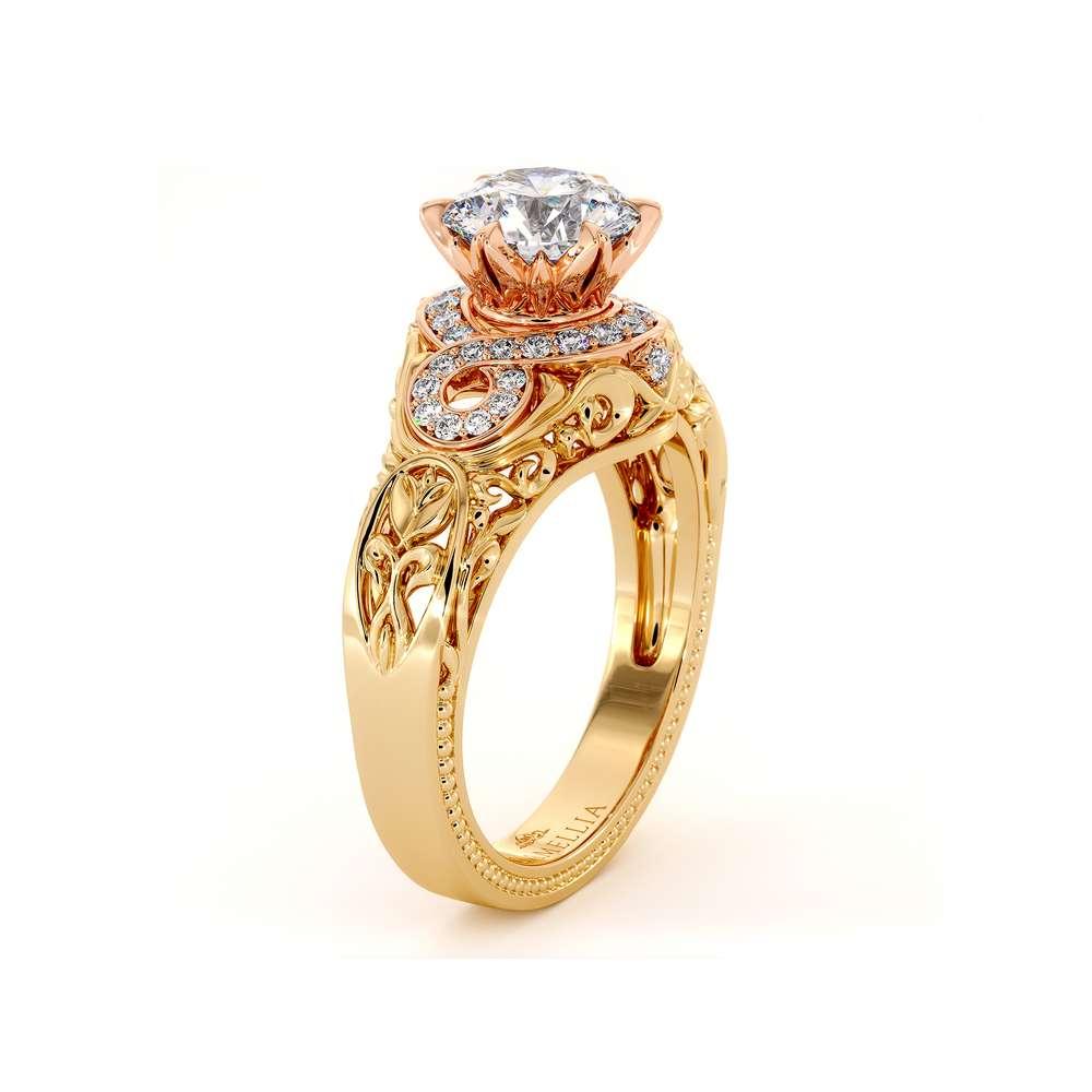Glory Halo Engagement Ring 14K Yellow & Rose Gold Ring Regal Filigree Gold Ring