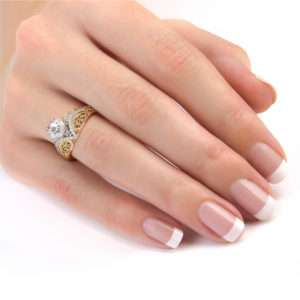 Moissanite Stone In Two Tone Gold Engagement Ring Regally Designed Diamonds Engagement Ring