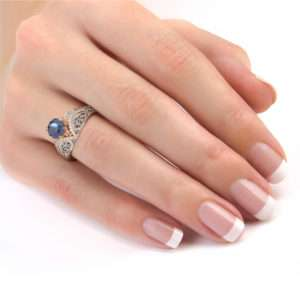 Art Deco Blue Sapphire Engagement Ring Regally Designed White And Rose Gold Engagement Rin