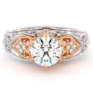 Art Nouveau Glory Engagement Ring Moissanite And Diamonds In Two Tone Gold Foliage Filigee Engagement Ring