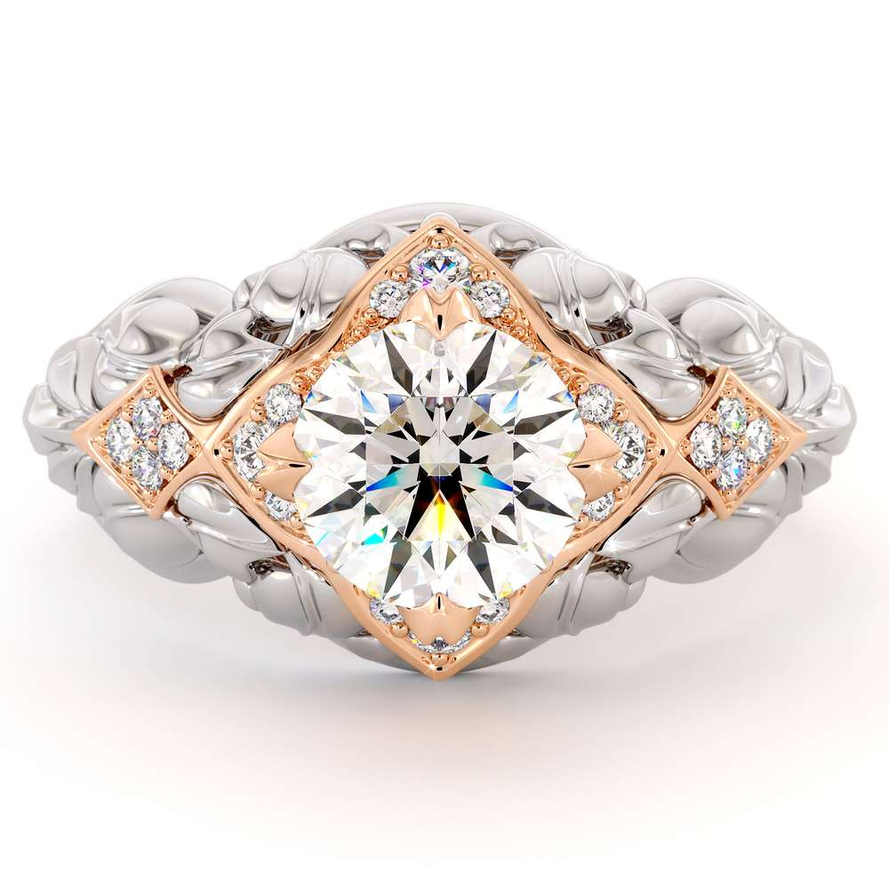 Diamonds Queenly Engagement Ring Moissanite Ring 14K Two Toned Gold Foliage Engagement Ring