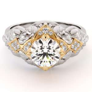 1.28 Carat Round Moissanite Engagement Ring Natural Diamonds Ring Queenly 14K Two Toned Gold Foliage Engagement Ring