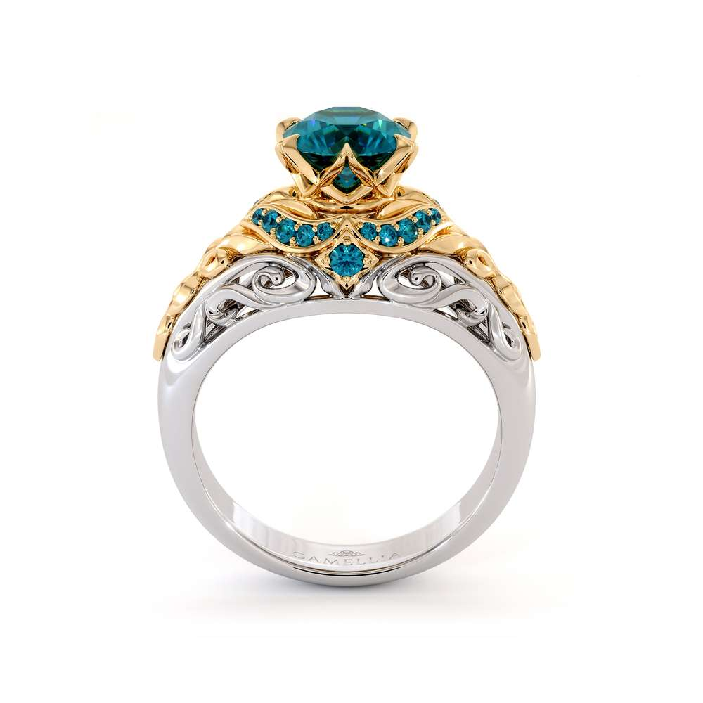 Blue Diamonds Halo Engagement Ring Art Nouveau Styled Crown Ring Royal Blue Diamond Ring 14K Gold Engagement Ring