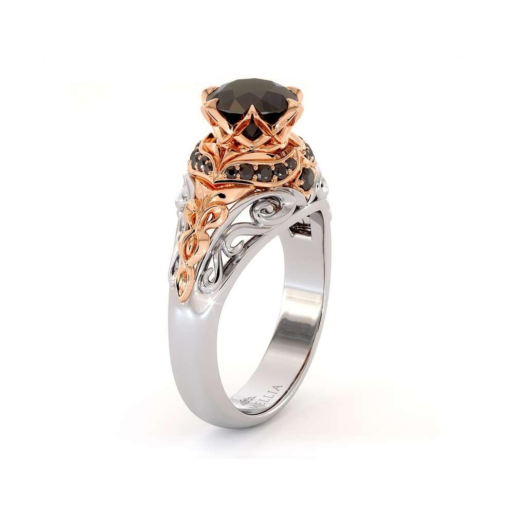 Black Diamonds Halo Engagement Ring Vintage Inspired Crown Ring Royal Black Diamond Ring 2 Tone Gold Engagement Ring