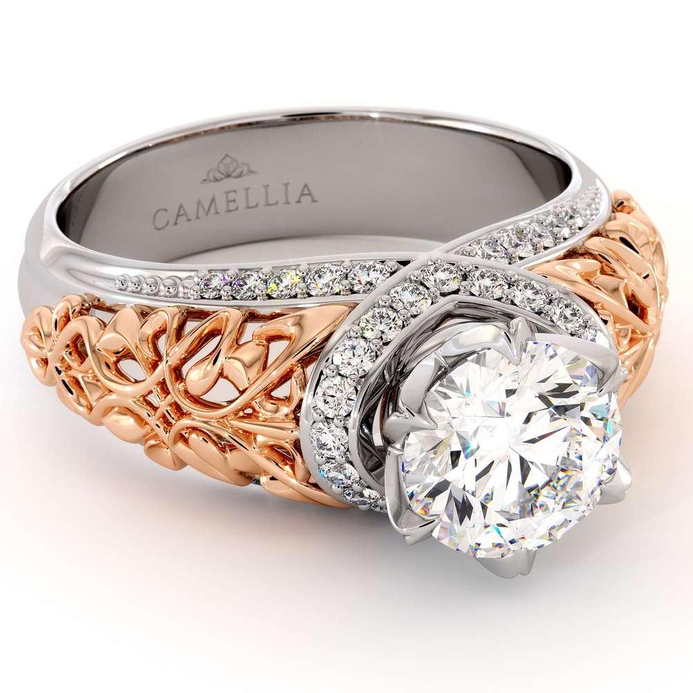 Handmade Gold Engagement Ring Royal Diamonds Ring Round 1.55 Ct. Moissanite Engagement Ring Two Toned Gold Grid Filigree Ring