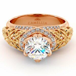 2 Toned Gold Engagement Ring Round 1.55 Ct. Moissanite Engagement Ring Unique Royal Filigree Reddish Gold Ring