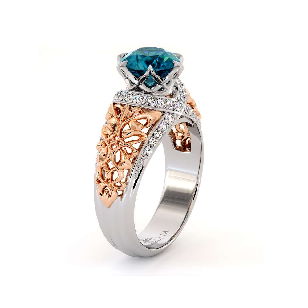 Fancy Blue Diamond Engagement Ring Unique Royal Filigree 2 Toned Gold Ring Round 2.0 Ct. Diamond Engagement Ring