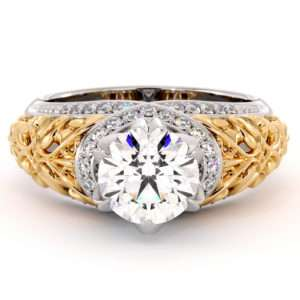 Royal Two Toned Gold Engagement Ring Diamonds Ring Round 1.55 Ct. Moissanite Engagement Ring Unique Gold Filigree Ring
