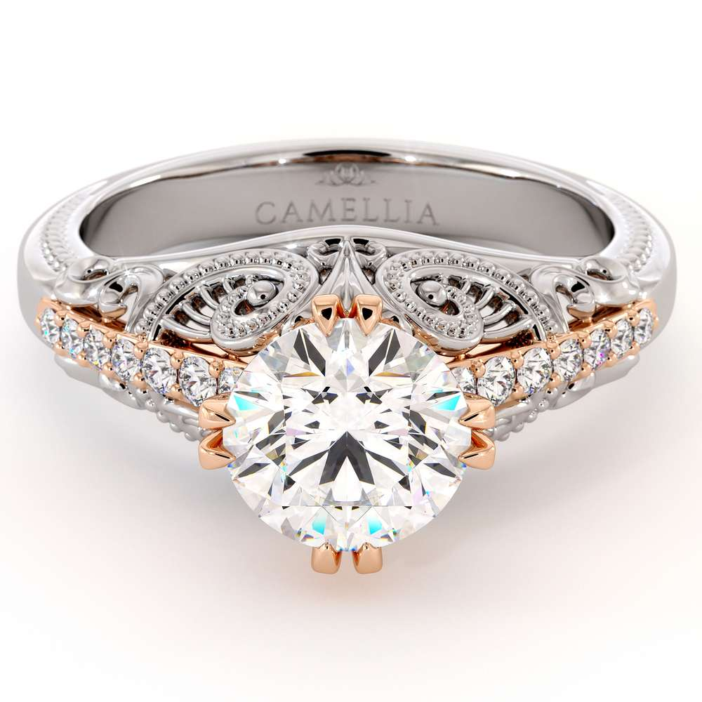 Superior Victorian Moissanite Engagement Ring Vintage Style 2 Tone Gold Ring Natural Diamonds Engagement Ring