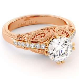 Superior 2 Tone Gold Ring 1.55 Ct. Moissanite Engagement Ring Victorian Style Natural Diamonds Engagement Ring