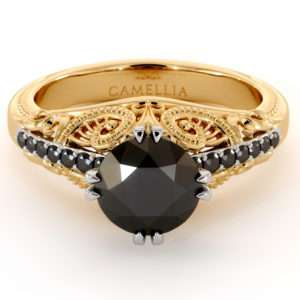 Victorian Style Black Diamond Engagement Ring 2 Tone Gold Superior Vintage Ring Natural Diamonds Engagement Ring