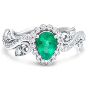 Pear Engagement Ring Emerald Nature Inspird Ring with Diamonds Halo