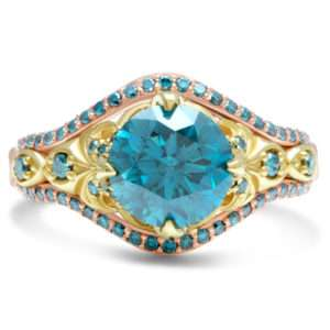 Glory Antique Blue Diamond Ring Vintage Engagement Ring Unique Two Toned Solid Gold Ring