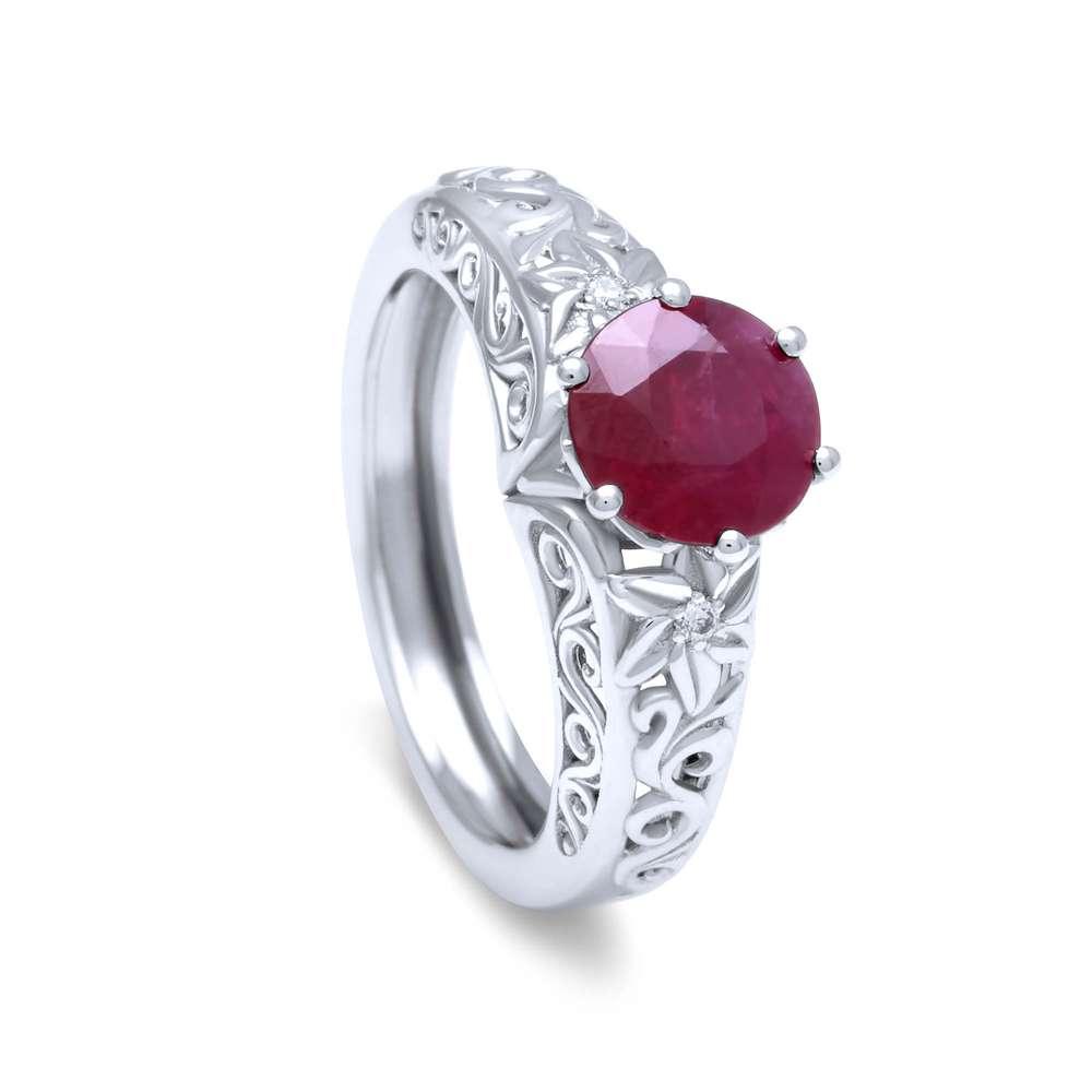 1 Carat Ruby Engagement Ring Wedding Gemstone Ring 14K White Gold Ring Floral Filigree Ring