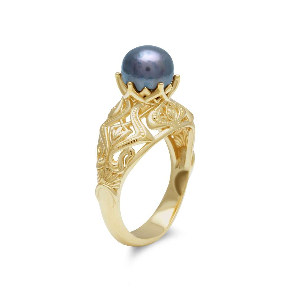14K Yellow Gold Cultured Pearl Ring Vintage Style Black Pearl Ring For Her