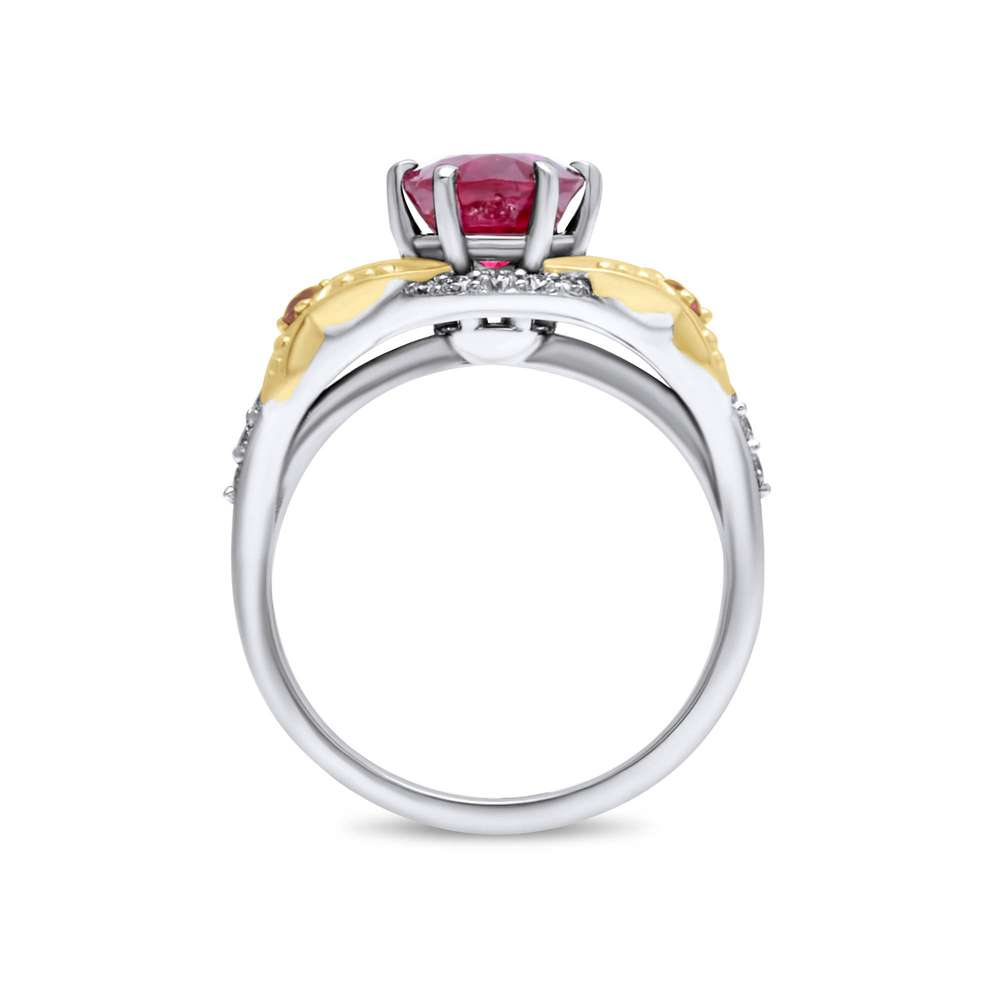 Splendid Ruby Engagement Ring Two Tone Gold Engagement Ring Natural Diamonds And Ruby Ring
