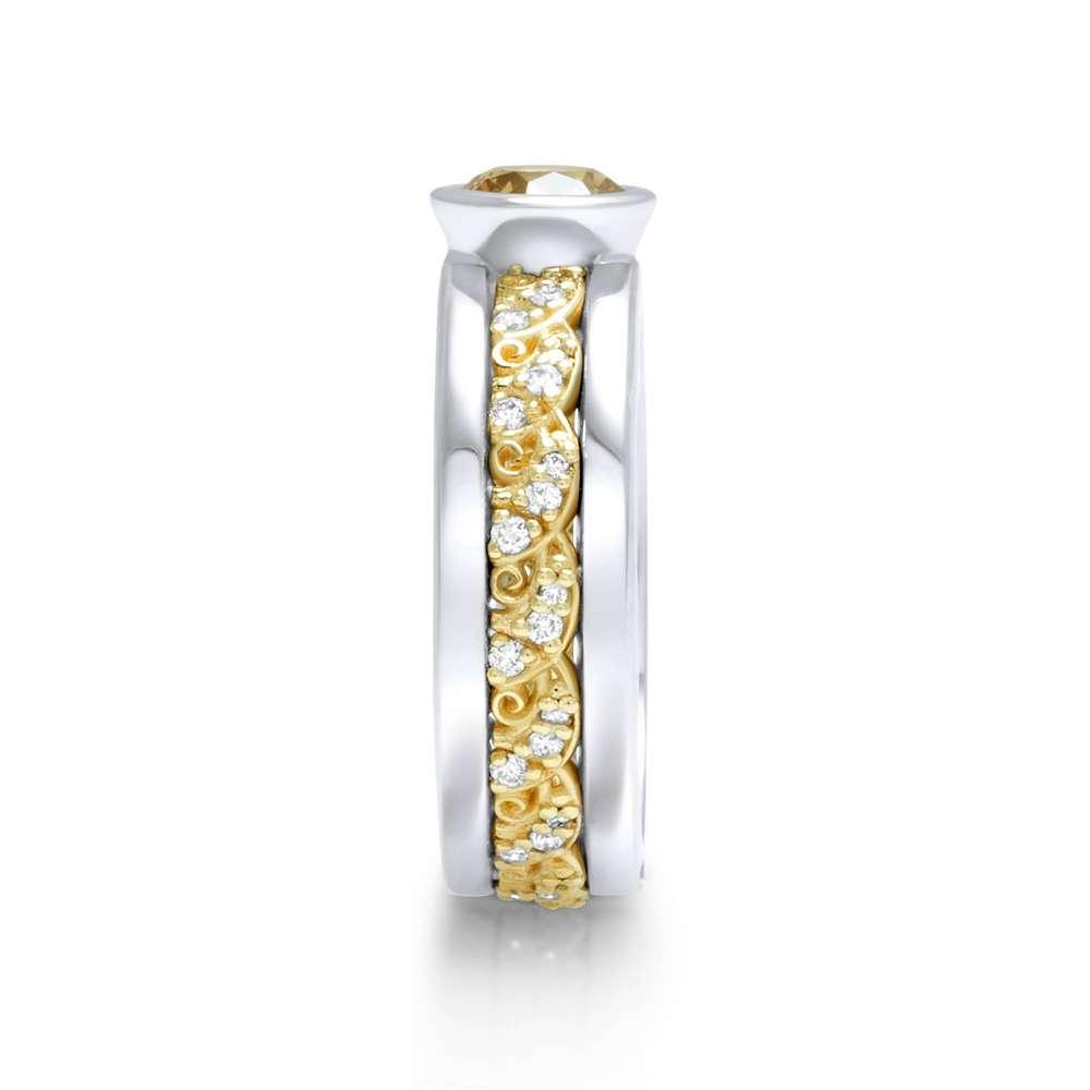 Yellow Diamond Engagement Ring Modern Two Tone Gold Filigree Ring 1/2 Carat Bezel Yellow Diamond Ring