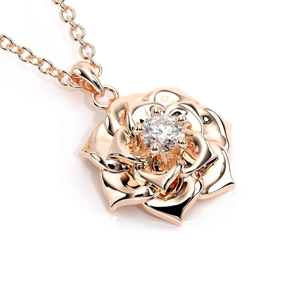 Rose Gold Camellia Flower Lab Created Diamond Pendant Nature Jewelry Flower Pendant Necklace