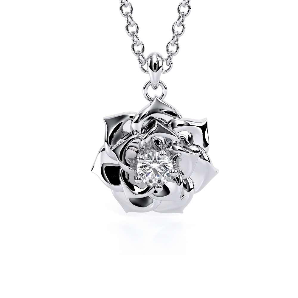Camellia Flower Pendant Lab Created Diamond Pendant Nature Jewelry Gold Flower Pendant Necklace