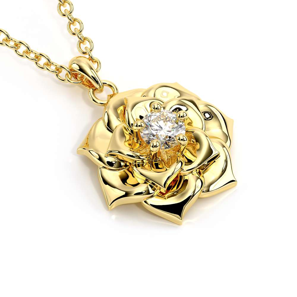 Lab Created Diamond In Gold Camellia Flower Pendant Necklace Women's Nature Jewelry