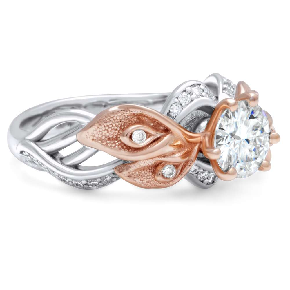 Luxurious Calla Lily Moissanite Engagement Ring 14K 2 Tone Gold Ring Unique Floral Engagement Ring